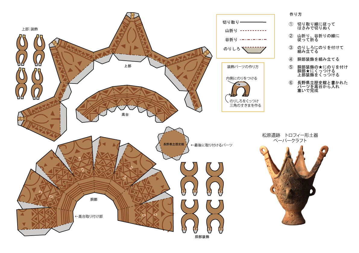 松原遺跡トロフィー型土器ペーパークラフトの画像