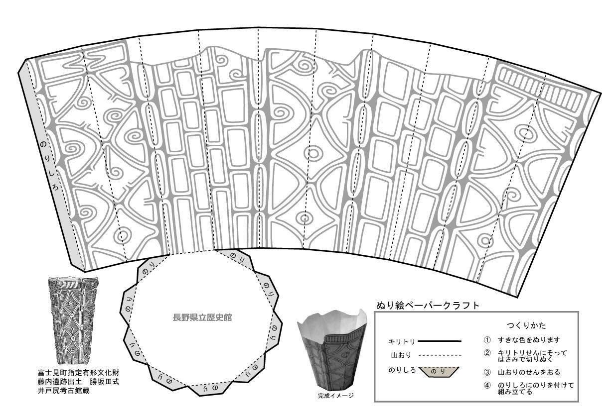藤内遺跡出土勝坂III式ペーパークラフトの画像